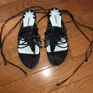 Black leather strappy sandals - size 6.5